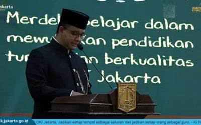 Hari Pendidikan Nasional bersama Gubernur Pak Anies Baswedan dan Kadisdik DKI Jakarta Ibu Nahdiana
