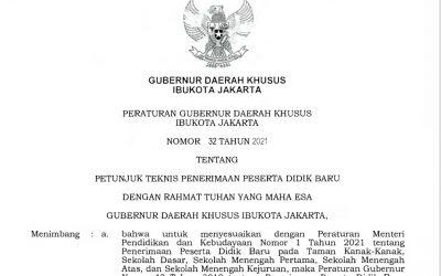 Pergub No.32 Tahun 2021 tentang Petunjuk Teknis PPDB Tahun Pelajaran 2021/2022